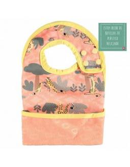 Babero reversible POP IN con bolsillo para migas - Guepardo