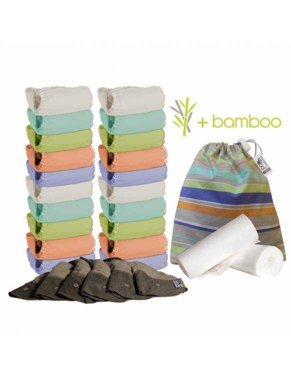 """Pack Pop in de 20 pañales V2 con interior de bambú  """"Tono Pastel"""""""