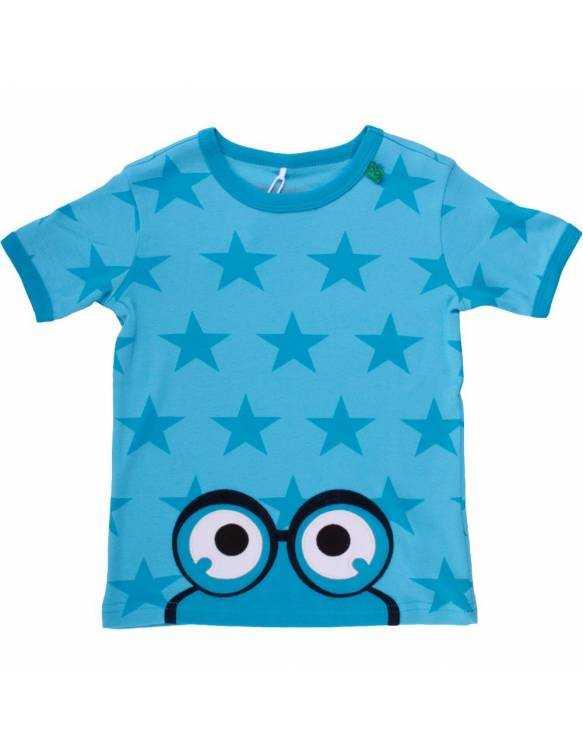 "Camiseta FRED's WORLD de algodón orgánico ""Estrellas/Aqua"""