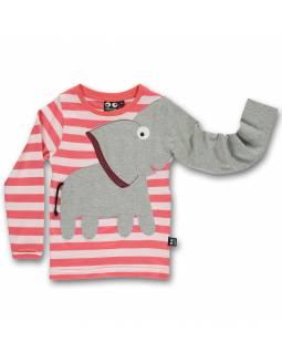 """Camiseta UBANG de algodón orgánico """"Elefante Rayas/Rosa"""""""