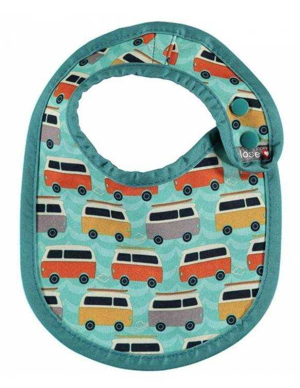 "Babero reversible POP IN ""Caravana Verde"""
