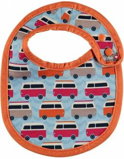 "Babero reversible POP IN ""Caravana Naranja"""