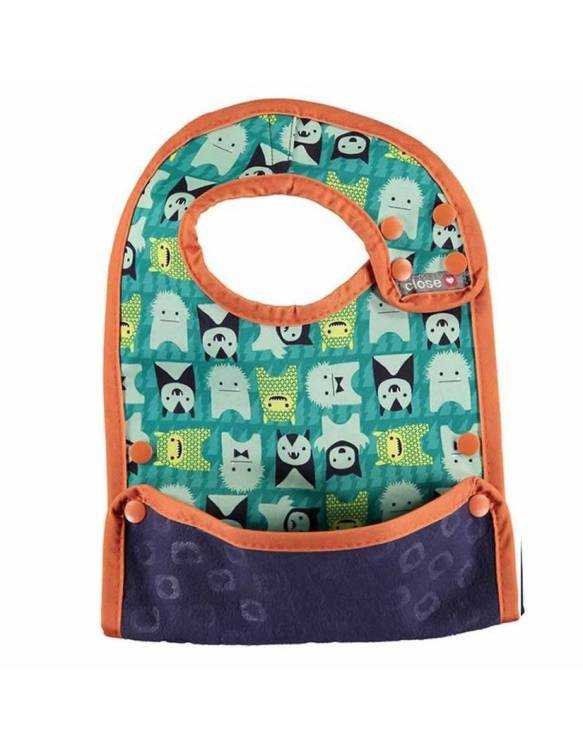 "Babero reversible POP IN con bolsillo para migas ""Monster Herman"""