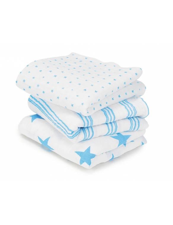 "Mini muselinas PACK aden+anais de algodón ""Fluro Blue"""
