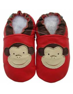 "Zapatos de gateo ecológicos ""Mono Rojo"""