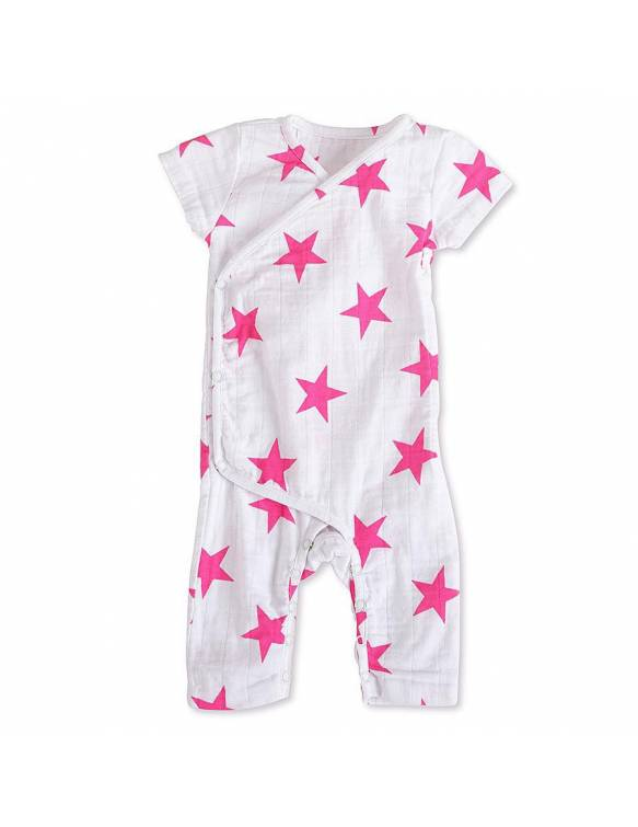Pelele manga corta de muselina ADEN+ANAIS estrella rosa