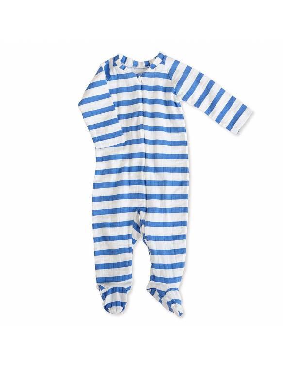 Pelele manga larga de muselina con cremallera ADEN+ANAIS - Rayas Azul