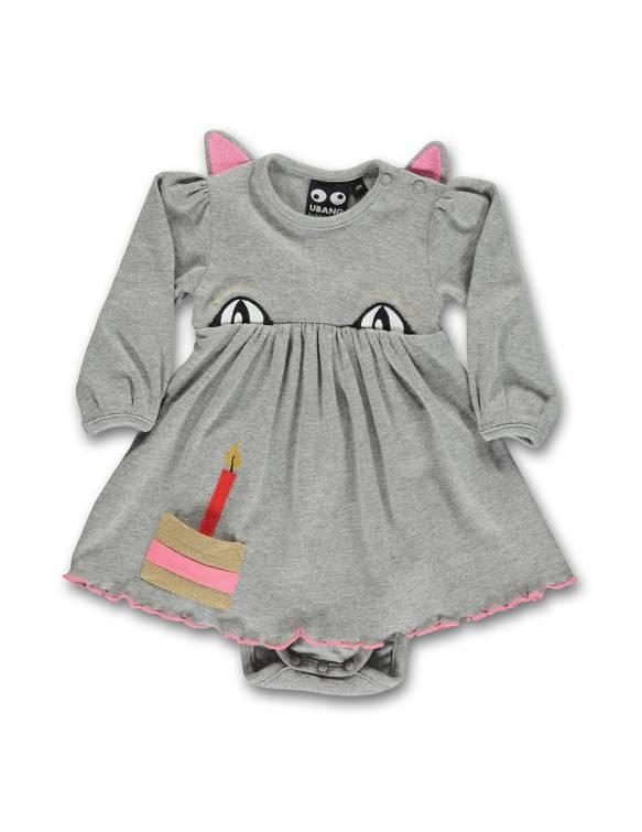 Vestido-Body Orgánico UBANG con gatita muy presumida - Cumpleaños