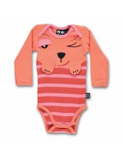Body Bebé Orgánico UBANG con perrito muy curioso - Peach