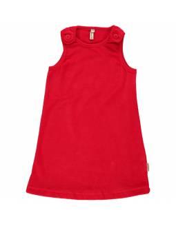 Vestido de algodón orgánico MAXOMORRA - Terciopelo Rojo