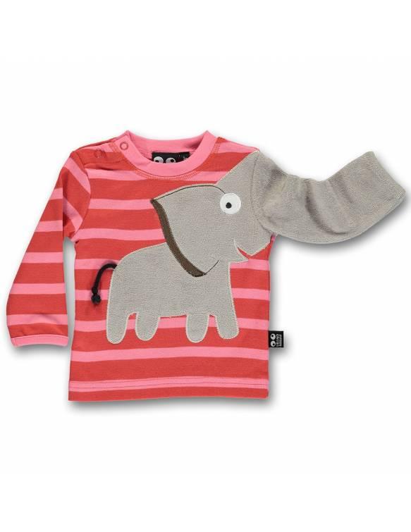 Camiseta Bebé Orgánica UBANG con elefante juguetón - Peach