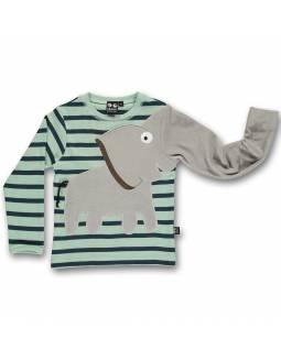 Camiseta Orgánica UBANG con elefante juguetón - Marinero
