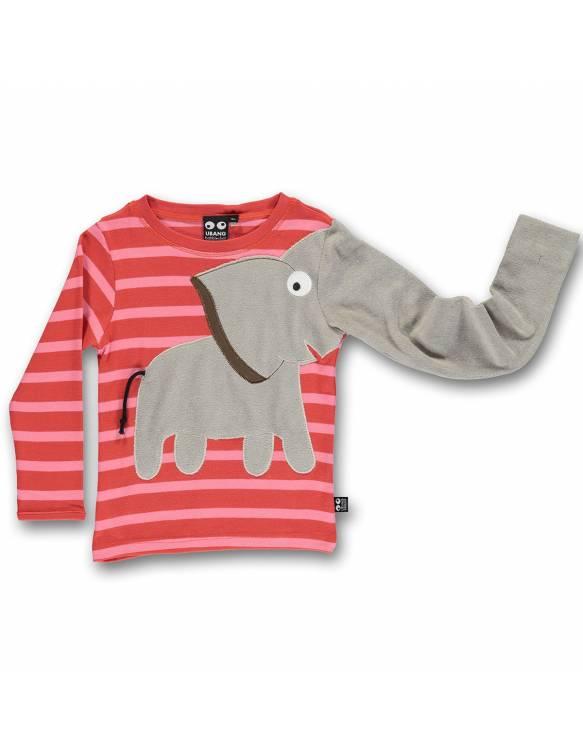 Camiseta Orgánica UBANG con elefante juguetón - Melocotón