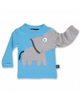 Camiseta Bebé de Algodón Orgánico UBANG - Elefante Azul