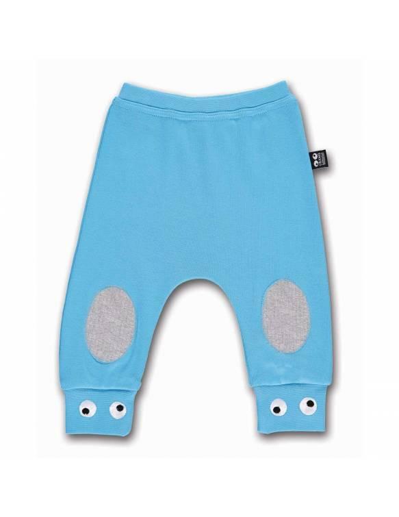 Pantalón de Algodón Orgánico UBANG con divertidos ojos - Azul Cielo