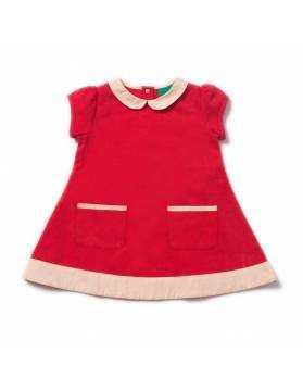 Vestido de Algodón Orgánico LITTLE GREEN RADICALS - Rojo Vintage