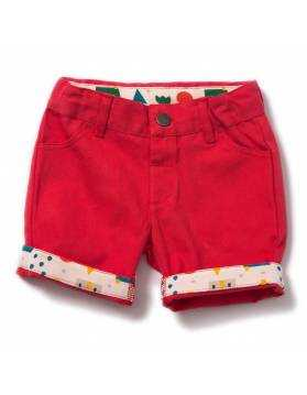 Pantalón Corto de Algodón Orgánico LITTLE GREEN RADICALS - Rojo Vintage