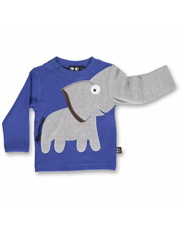 Camiseta Orgánica Bebé UBANG - Elefante Azul Brillante
