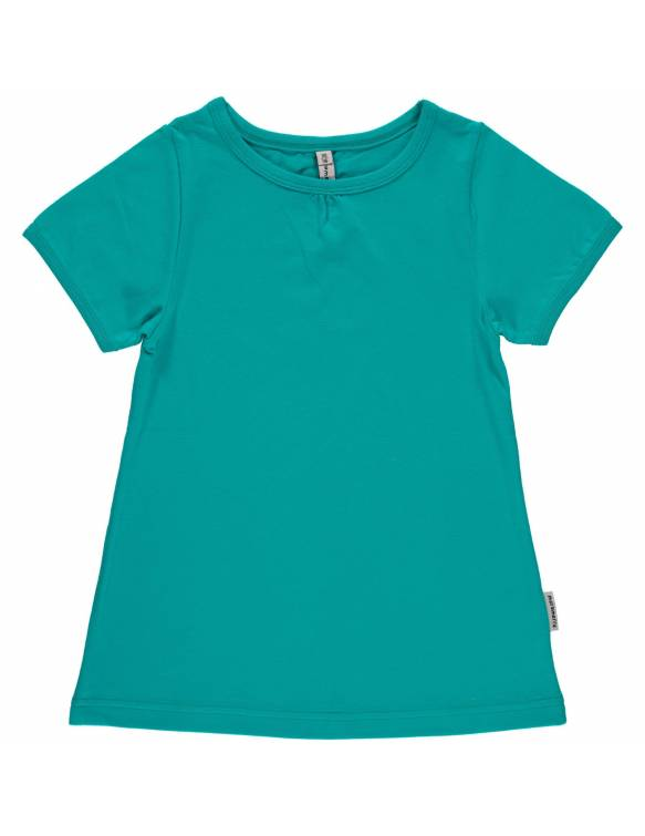 Camiseta Orgánica MAXOMORRA con plisado - Básico Turquesa
