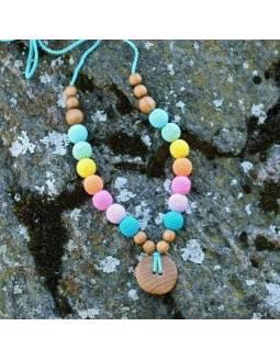 Collar KangarooCare para porteo y lactancia - Double Aqua Rainbow