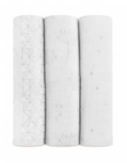 PACK Muselinas Aden+Anais De Algodón Efecto Metalizado - Silver Deco