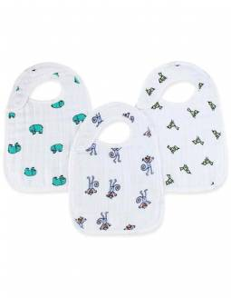 Baberos De Muselina De Algodón 3 PACK Con Broches - Jungle Jam