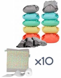Pack 10 Pañales POP-IN Color Pastel De Bambú + Accesorios