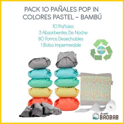 Pack 10 Pañales Pop In Colores Pastel Bambú