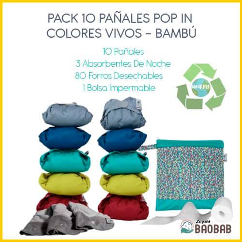 Pack 10 Pañales Pop In Colores Vivos Bambú