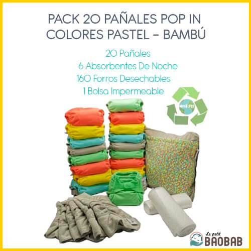 Pack 20 Pañales Pop In Colores Pastel Bambú