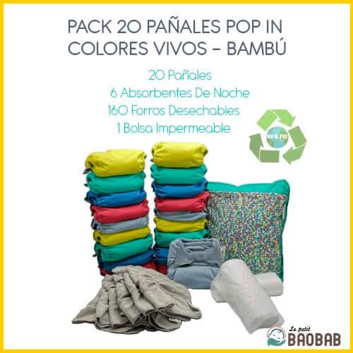 Pack 20 Pañales Pop In Colores Vivos Bambú