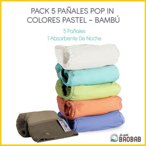 Pack 5 Pañales Pop In Colores Pastel Bambú