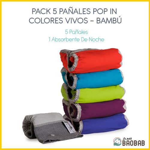 Pack 5 Pañales Pop In Colores Vivos Bambú