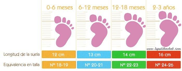 guia de tallas zapatos de gateo